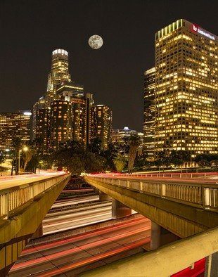 Dick Drechsler: 'super moon over los angeles', 2018 Color Photograph, Urban. Artist Description: This shot was taken on a clear night over the LA skyline. ...