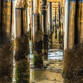 Dick Drechsler: 'under the boardwalk', 2018 Color Photograph, Seascape. Artist Description: This photograph was taken under the Ventura Pier in Southern California. ...