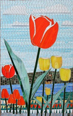 Real Lachance: 'field of tulips', 2017 Glass, Floral. Artist Description: Tulips on the west side of the Ottawa River in Ottawa, Xanada...