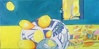 Rebecca De Figueiredo: 'LEMONS', 2015 Oil Painting, Still Life. Artist Description:  STILL LIFE, YELLOW, LEMONS, GIN AND TONIC, CAKE   ...