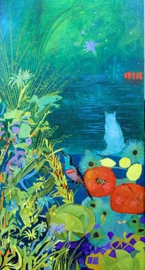 Rebecca De Figueiredo: 'cat in the delta', 2016 Oil Painting, Still Life. Artist Description:  tangerine, cat, Okavango delta, Africa, Botswana, frog, sunbird, water    ...