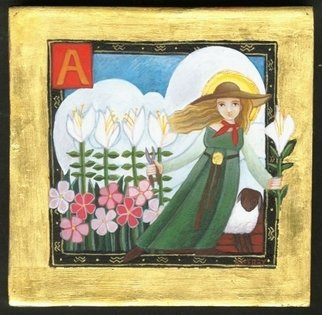 Rebecca Merry: 'St Agnes ', 2006 Tempera Painting, Religious. Artist Description: Saint Agnes is the patron saint of Gardeners and is one of a series of paintings of patron saints which Rebecca has done. ...