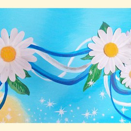 Diana Rojas: 'Daisies Forever', 2014 Acrylic Painting, Floral. Artist Description:    Original hand- painted acrylic canvas 3D picture' Daisies Forever'The flowers are hand- made as well as the flower' s stamen. The dew is on the flower leafs for adding its natural and fresh look. The ribbons symbolized union, friendship or just partnership. You can ...