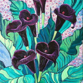 Irina Redine: 'calla lily black forest', 2019 Oil Painting, Floral. Artist Description: Oil Paint on canvas, stretched and ready to hangSigned on the frontCalla Lily Black Forest aEUR