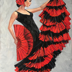 flamenco dancer with a fan By Irina Redine