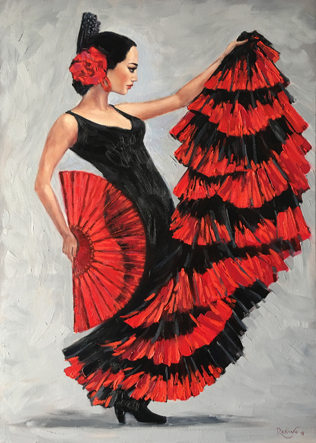 Irina Redine  'Flamenco Dancer With A Fan', created in 2018, Original Painting Oil.