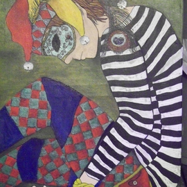 Lora Hill: 'Harlequin', 2011 Acrylic Painting, Circus. Artist Description:  Harlequin figure with peacock feather accents. ...