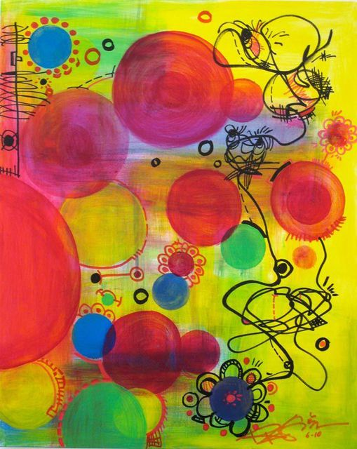 Regia Marinho  'BUBBLES IN THE AIR', created in 2011, Original Painting Acrylic.