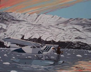Ernest Reich: 'Fly Fishing', 2003 Acrylic Painting, Aviation. This is the type of plane I would fly. I could see myself missing a narrow runway, but I could probably be able to manage a lake. ...