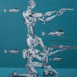 Ernest Reich: 'SWATBOTS', 2003 Acrylic Painting, Technology. Artist Description: This is my vision of the future of criminal justice. ...