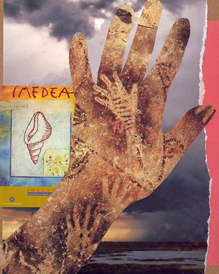 Collage by Reiko Michisaki titled: Hands 2 , 2006