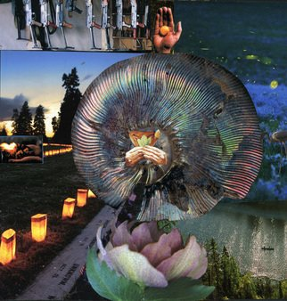 Collage by Reiko Michisaki titled: Prayer Wheel, created in 2008