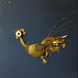 Vladimiras Nikonovas: 'Rooster', 2016 Mixed Media Sculpture, Figurative. Artist Description:  sculpture made from old metal parts on wood board ...
