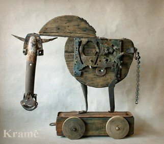 Vladimiras Nikonovas: 'Trojan', 2014 Mixed Media Sculpture, Animals. Artist Description:             sculpture made from old metal parts on wood board                              ...