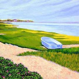 Renee Rutana: 'Anticipation', 2006 Acrylic Painting, Seascape. Artist Description: This row boat was waiting along the shore in Chatham at the Cape. This is a gallery wrapped canvas with the painting extending out to the edges. Painted in an Impressionistic style....