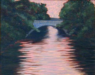 Renee Rutana: 'Connection', 2001 Oil Painting, Landscape. This is another piece from my home town, Uxbridge, Massachusetts. It is a bridge over the Blackstone River, thus as its name suggests, this is my