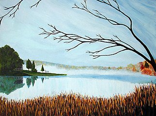 Renee Rutana: 'Mystify', 2001 Acrylic Painting, Landscape.  This painting was of a scene I saw at Crystal Lake in Somers, Connecticut. It was an early morning in October and the mist was still resting upon the lake. It felt like a magical morning. * Canvas has stapled sides. ...