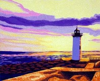 Renee Rutana: 'Newcastle Sunset', 2005 Acrylic Painting, Seascape. Lighthouse Art: This is a large brightly colored sunset seascape of the Newcastle Lighthouse in Portsmouth, New Hampshire. * Canvas has stapled sides. ...