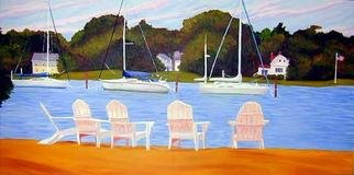 Renee Rutana: 'Sanctuary', 2006 Oil Painting, Seascape. I discovered this quaint little resting area in Wickford, Rhode Island. Looking at it now makes me wish I was there.* Canvas has stapled sides....
