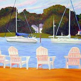 Renee Rutana: 'Sanctuary', 2006 Oil Painting, Seascape. Artist Description: I discovered this quaint little resting area in Wickford, Rhode Island. Looking at it now makes me wish I was there.* Canvas has stapled sides....