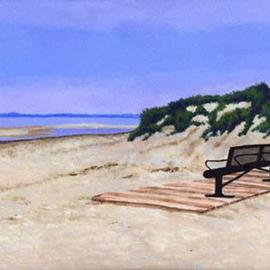 Renee Rutana: 'Twilight', 2004 Acrylic Painting, Seascape. Artist Description: This is a scene from Cape Cod. The sun was setting and there was a very peaceful mist starting to settle. The bench felt like the perfect place to enjoy the ocean, its salty air and the waves brushing up to the shore....