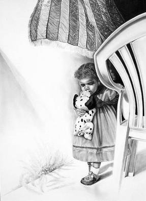 Dennis Rennock: 'September 11th', 2001 Pencil Drawing, Americana. With clever hidden symbolism, a well crafted rendering of a child passing an empty garden chair in memory of the historic events of September 11th 2001....
