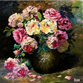 Yosef Reznikov: ' Bunch of flowers ', 2013 Acrylic Painting, Still Life. Artist Description:  Still life, flowers, roses, original, painting, bouquet of roses bouquet ...