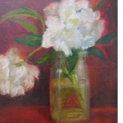 , Peonies In Red, Figurative, Sold