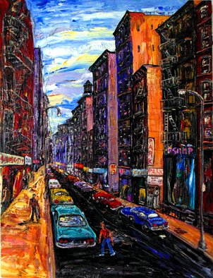 Arthur Robins: 'BLOCK BELOW CANAL 3', 2012 Oil Painting, Cityscape. Artist Description:     CITYSCAPE, NEW YORK CITY, NEW YORK ART, NEW YORK ARTIST, TRIBECA, SOHO, TIMES SQUARE, BUILDINGS, CARS, STREET, STREET ART,  ABSTRACT, SURREAL,  EXPRESSIONISM, ABSTRACT, LANDSCAPE, COLORFUL, RICH COLORS, JOYFUL,  FIGURATIVE, SURREAL, HAPPY, LOVE, TRUTH   ...