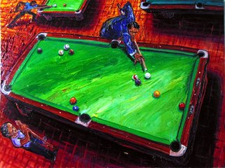 Arthur Robins: 'KEEPIN SCORE', 1998 Oil Painting, Urban. Artist Description: EXPRESSIONISM, ABSTRACT, POOL, POOL TABLE, BILLIARDS, POOL CUE, COLORFUL, RICH COLORS, JOYFUL, FIGURATIVE, SURREAL, CITYSCAPE, CARS, BUILDINGS, STREET, NEW YORK CITY, NEW YORK ART, TIMES SQUARE. ...
