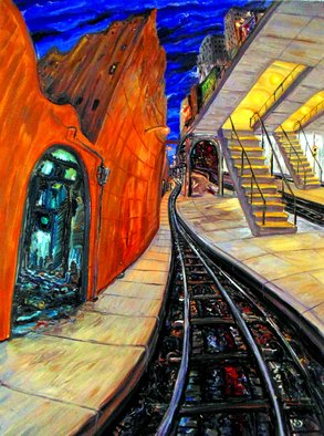 Arthur Robins Artwork SUBWAY TUNNEL DREAM, 2000 Oil Painting, Cityscape
