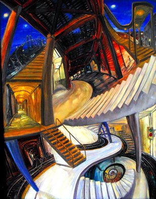 Arthur Robins: 'THE 9 PATHS OF LIFE', 1996 Oil Painting, Cityscape. Artist Description:   SUBWAY,     CITYSCAPE, NEW YORK CITY, NEW YORK ART, TRIBECA, SOHO, TIMES SQUARE, BUILDINGS, CARS, STREET, STREET ART,    EXPRESSIONISM, ABSTRACT, LANDSCAPE, COLORFUL, RICH COLORS, JOYFUL,  FIGURATIVE, SURREAL, HAPPY, LOVE, TRUTH , FLOWERS, LANDSCAPE, DREAM, TRAIN, TRAIN TRACKS    ...