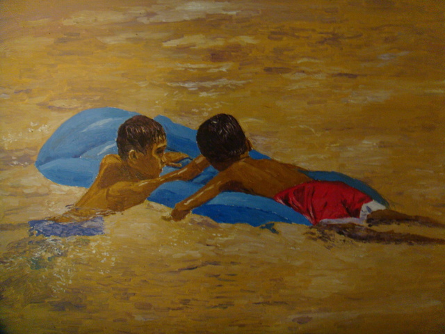 Artist Reynaldo Gatmaitan. 'Friends' Artwork Image, Created in 2010, Original Painting Oil. #art #artist
