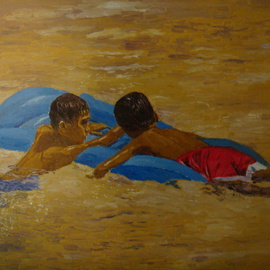 Reynaldo Gatmaitan Artwork Friends, 2010 Oil Painting, Children