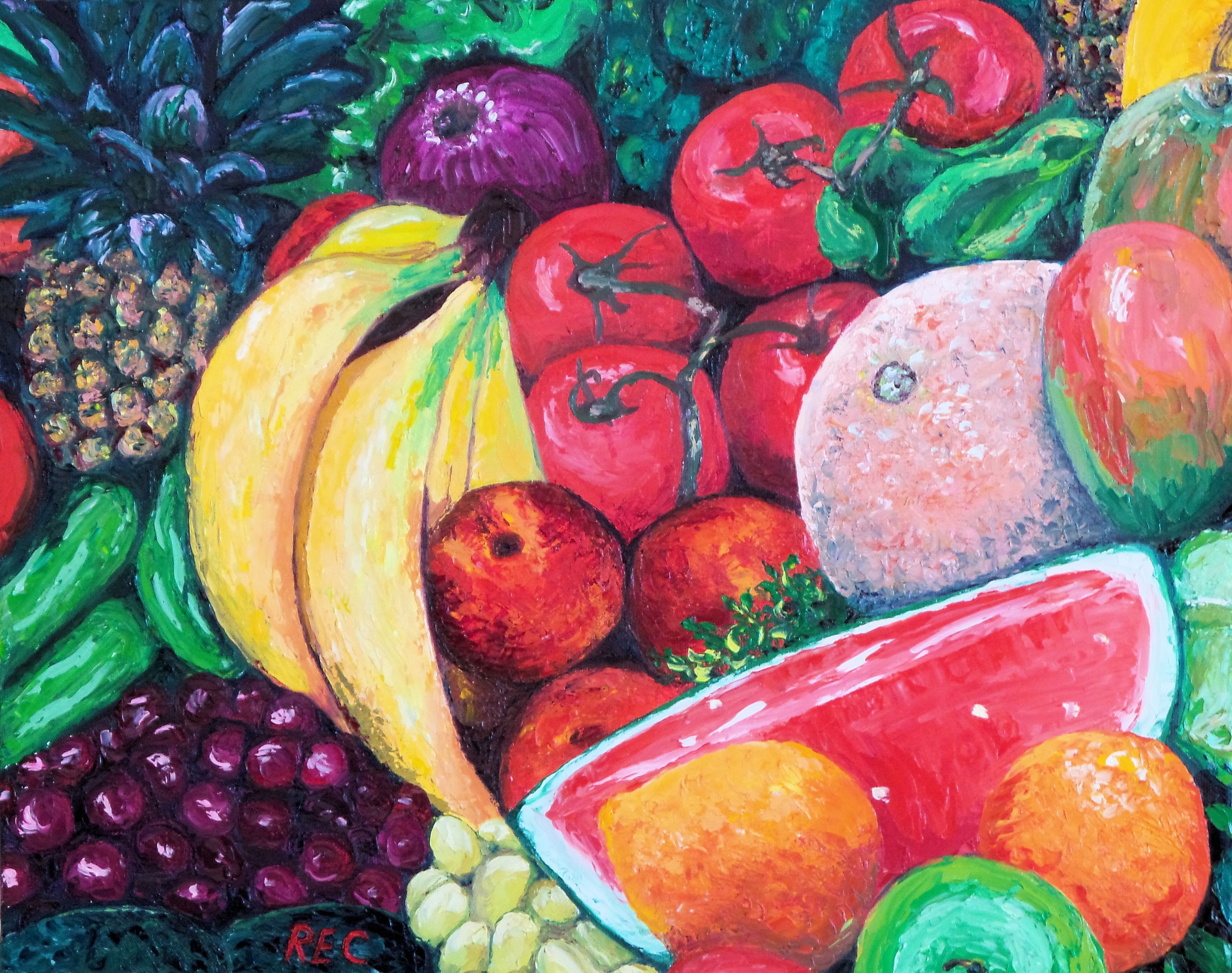 Felix murillo lleno de colores painting acrylic artwork fish art - Rossana Currie Artwork Another Bunch Of Fruits 2015 Oil Painting Abstract Figurative