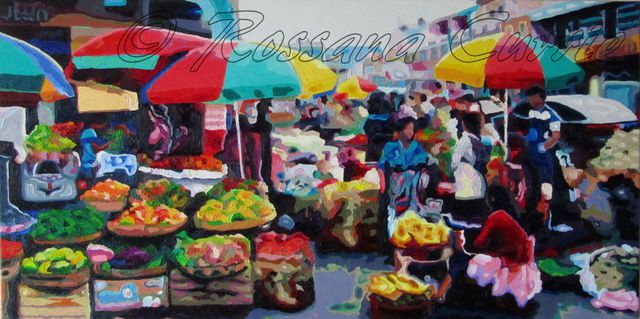Rossana Currie  'Chamula Market', created in 2013, Original Painting Oil.