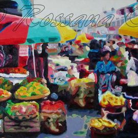Rossana Currie: 'Chamula Market', 2013 Oil Painting, Abstract Figurative. Artist Description: Markets are an open window to the soul of societies. . . . ....