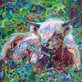 Rossana Currie: 'Farolito', 2014 Oil Painting, Abstract Figurative. Artist Description:  calf' s dreams. . . . what color they are?...