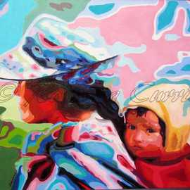 Rossana Currie: 'Free Ride', 2011 Oil Painting, Ethnic. Artist Description:  Is any love deeper that our love for the little ones?The painting has a black metal frame. ...