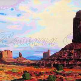 Rossana Currie: 'Left Mitten at MV', 2011 Oil Painting, Southwestern. Artist Description:   Visiting Monument Valley made me feel such a deep admiration and empathy with nature.Note: This painting is black metal framed....