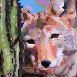 Rossana Currie: 'Sweet Coyote', 2011 Oil Painting, Southwestern. Artist Description:  Our favorite vagabonds of the desert landscape. This painting has a black metal frame....