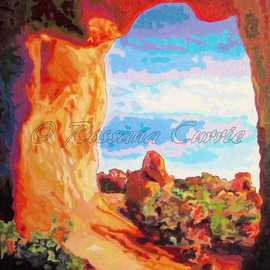 Rossana Currie: 'UT Cave', 2011 Oil Painting, Southwestern. Artist Description:    Red limestone is one of the best raw material for nature express its beauty   ...