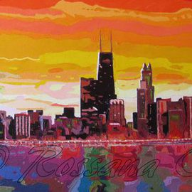 Rossana Currie: 'Windy City Sunset', 2013 Oil Painting, Abstract Figurative.
