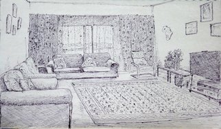 Rashid Hamza: 'Done in sketch pen: Drawing Room', 2016 Pen Drawing, Interior. Artist Description:  Pen drawing, realistic, perspective, interior, drawing room, house, Al Nahda Building in Dubai Room 802, ...