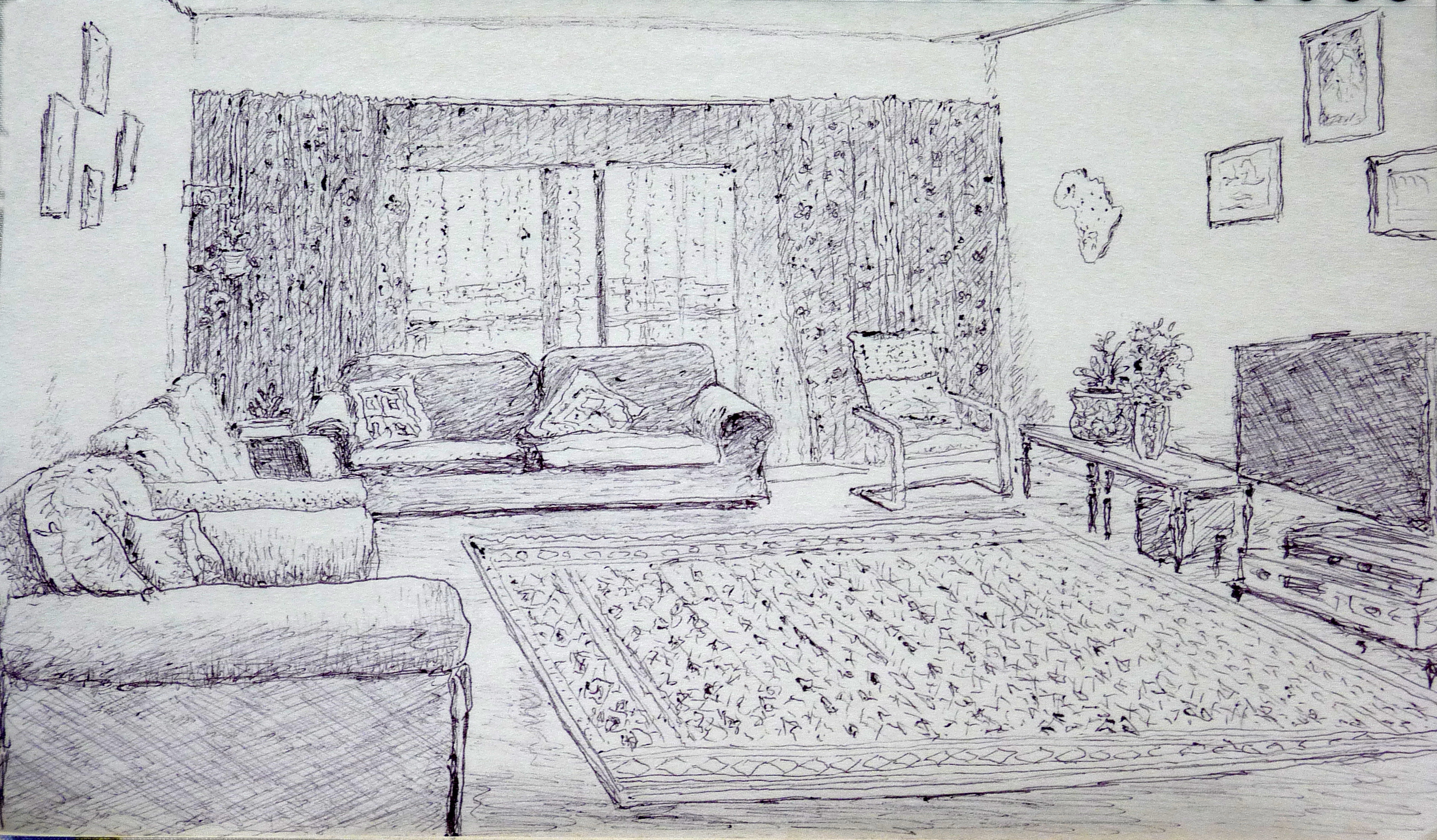 Rashid Hamza Artwork Done In Sketch Pen Drawing Room