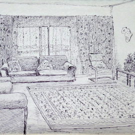 Rashid Hamza Artwork Done in sketch pen: Drawing Room, 2016 Pen Drawing, Interior