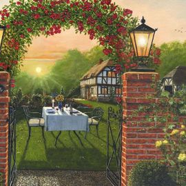 Richard Harpum Artwork Rose Cottage Dinner for Two, 2012 Acrylic Painting, Landscape