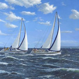 Richard Harpum Artwork Running Close Hauled, 2008 Acrylic Painting, Sailing