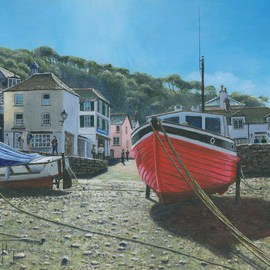 Richard Harpum Artwork The Red Boat, Polperro, Cornwall, 2012 Acrylic Painting, Landscape