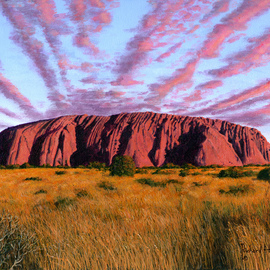 Richard Harpum Artwork Uluru Sunset Ayers Rock, Central Australia, 2014 Acrylic Painting, Landscape